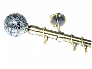 19mm Antique Brass Ceiling Curtain Pole with Black Mosaic Ball Finials 1.2m 1.5m 2.4m 3m